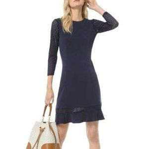 Michael Kors  Mesh Trim Fit and Flare Dress Navy